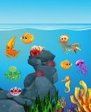 Animaux de mer nageant sous la mer Image stock
