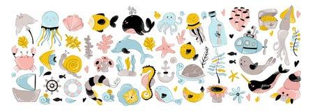 Animaux de mer de vecteur illustration stock