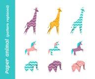 Animaux de papier de vecteur d'origami avec les modèles remplacés Images libres de droits