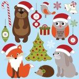 Animaux de région boisée de Noël Photographie stock libre de droits