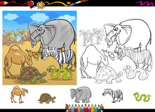 Animaux de safari colorant l'ensemble de page Images libres de droits