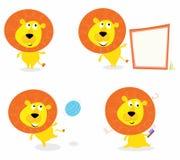Animaux de safari de dessin animé : Lion de jungle dans quatre poses illustration de vecteur