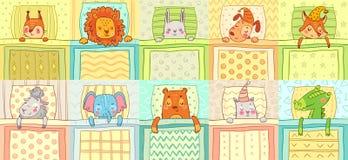 Animaux de sommeil Sommeil animal mignon de nuit dans le lit, le chien drôle sur l'oreiller et le chat dans l'illustration de vec illustration libre de droits