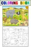 Animaux de vecteur de coloration de la savane de l'Afrique pour des adultes Image libre de droits