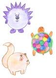 Animaux drôles ronds, hérisson, écureuil, tortue Photo libre de droits