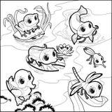 Animaux drôles dans l'étang illustration de vecteur
