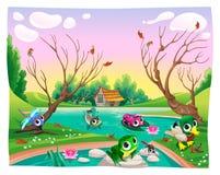 Animaux drôles dans l'étang illustration libre de droits