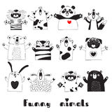 Animaux drôles Tiger Pig Bear Fox Sheep Cat Pug Panda Rabbit pour la conception des parties des enfants, salles, autocollants Illustration Stock