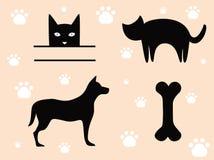 Animaux familiers chat et chien - signes. Image libre de droits