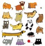 Animaux familiers drôles et d'autres animaux Illustration Libre de Droits