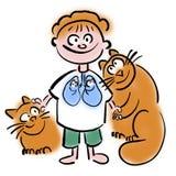 Animaux familiers et affections pulmonaires chez les enfants illustration de vecteur