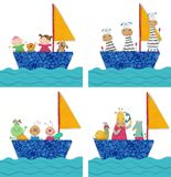 Animaux familiers et enfants voyageant en bateau Image stock
