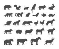 Animaux familiers noirs de silhouettes, ferme et animaux sauvages Photos libres de droits