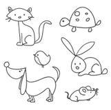 Animaux familiers tirés par la main de dessin animé Image stock
