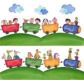 Animaux familiers voyageant par chemin de fer Photographie stock libre de droits