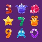 Animaux formés par chiffre et toute autre Jelly Creatures Set illustration stock