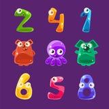 Animaux formés par nombres et toute autre Jelly Creatures Set Images libres de droits