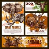 Animaux géants sauvages d'affiche de croquis de zoo de vecteur illustration libre de droits