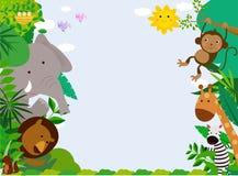 Animaux heureux de jungle avec l'espace de copie illustration libre de droits