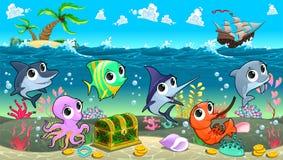 Animaux marins drôles en mer avec le galion Photos libres de droits