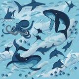 Animaux marins et poissons illustration stock