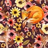 Animaux mignons d'aquarelle sur le fond floral Photographie stock libre de droits
