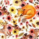 Animaux mignons d'aquarelle sur le fond floral Photos stock