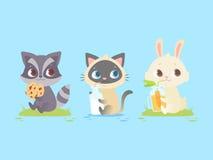 Animaux mignons de bébé se reposant, raton laveur de bébé, chaton, lapin illustration de vecteur