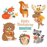 Animaux mignons de forêt de thanksgiving illustration libre de droits