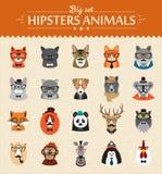 Animaux mignons de hippie de mode des icônes de vecteur Photo stock