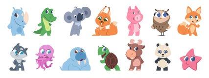 Animaux mignons Animaux familiers de bébé de bande dessinée et animaux sauvages de forêt, caractères d'enfants de chatte Ensemble illustration libre de droits