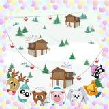 Animaux mignons, paysage d'hiver, illustration de couleur de Noël illustration stock