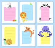 Animaux mignons tenant les bannières vides, lapin, lion, Panda Bear, escargot, chat, poulpe, avec le vecteur vide d'enseignes illustration stock