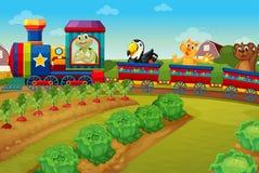 Animaux montant sur le train par la ferme Photo stock
