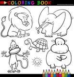 Animaux pour le livre ou la page de coloration Image libre de droits