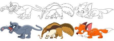 Animaux prédateurs de bande dessinée réglés Image libre de droits