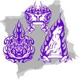 Animaux prédateurs et flammes - positionnement 1. illustration stock