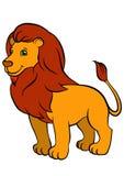 Animaux sauvages de bande dessinée pour des enfants Beau lion mignon Image libre de droits