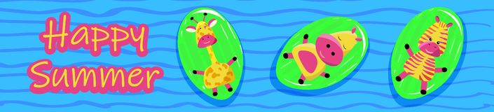 Animaux sauvages mignons d'hippopotame, de girafe et de zèbre du Madagascar et de l'Afrique sur un matelas gonflable dans la pisc illustration libre de droits