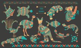 Animaux stylisés australiens réglés sur le fond foncé illustration de vecteur
