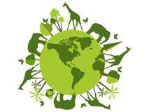 Animaux sur la planète, refuge pour animaux, réserve naturelle Jour d'environnement du monde illustration stock