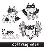 Animaux tirés par la main de bande dessinée d'ensemble dans le costume de super héros Photos libres de droits
