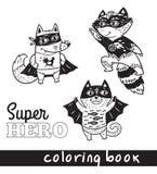 Animaux tirés par la main de bande dessinée d'ensemble dans le costume de super héros Image libre de droits
