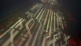 Animazione alta tecnologia generata da computer di tecnologia digitale fondo della rappresentazione 3D 4K, ultra risoluzione di H illustrazione vettoriale