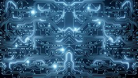 Animazione astratta del ciclo del circuito blu video d archivio