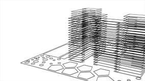 Animazione astratta del modello in bianco e nero delle costruzioni e degli edifici moderni animazione Animazione astratta 3d illustrazione di stock