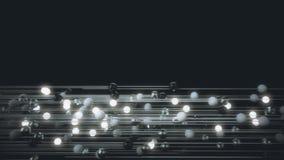 Animazione astratta delle sfere leggere collegate illustrazione di stock