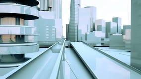 Animazione astratta di una macchina fotografica che si muove fra le costruzioni urbane della città illustrazione di stock