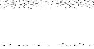 Animazione astratta Punti neri dei semitoni comparire e cadere sotto l'influenza di gravità su un fondo bianco illustrazione di stock