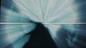 Animazione binaria del grafico del Cyberspace di codice di dati del computer del mondo di Digital royalty illustrazione gratis